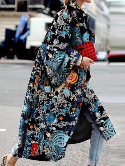 Elegant and fashionable starry sky printed long-sleeve coats