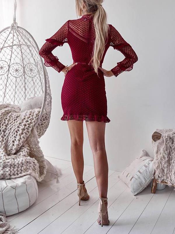 Women Elegant soluble lace wrap hip bodycon dresses