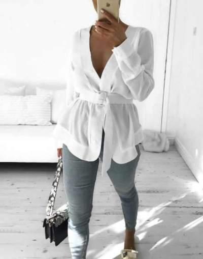 Sexy V neck Long sleeve Belt Blouses