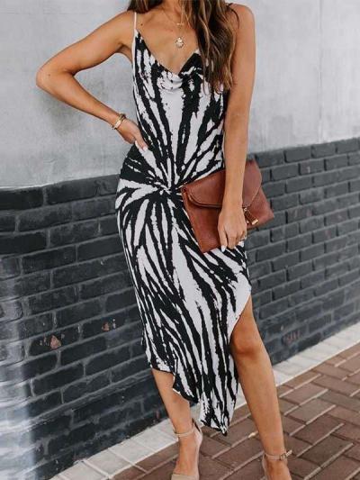 Fashion Casual Print V neck Vest Irregular Maxi Dresses