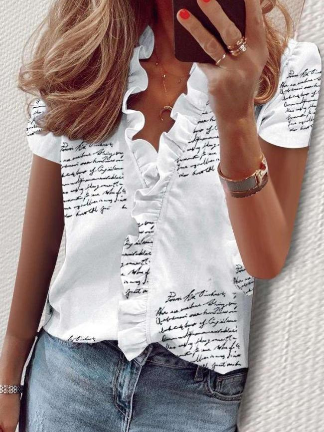 Fashion Print V neck Stringy selvedge Short sleeve Blouses