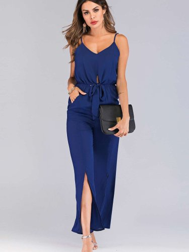 Fashion Pure V neck Vest Vent Jumpsuits