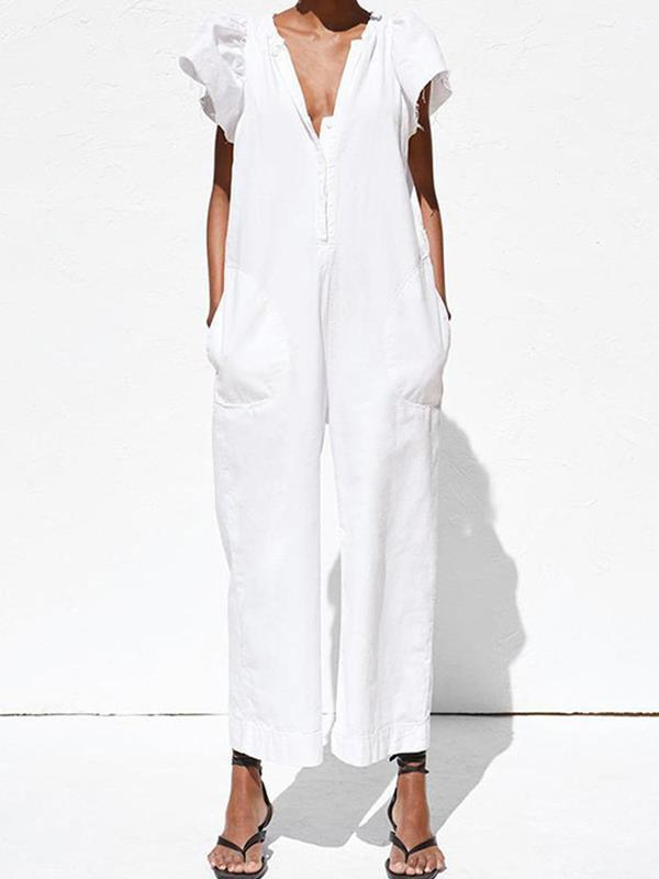 Stylish white V-neck lotus leaf sleeves jumpsuits