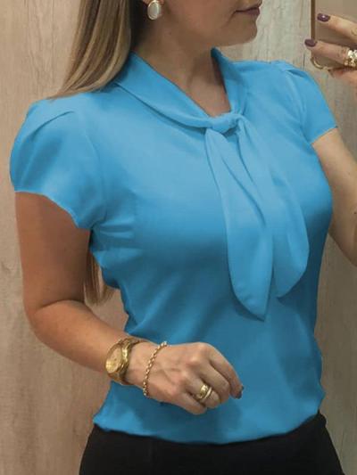 Plain short-sleeved collar chiffon summer blouses