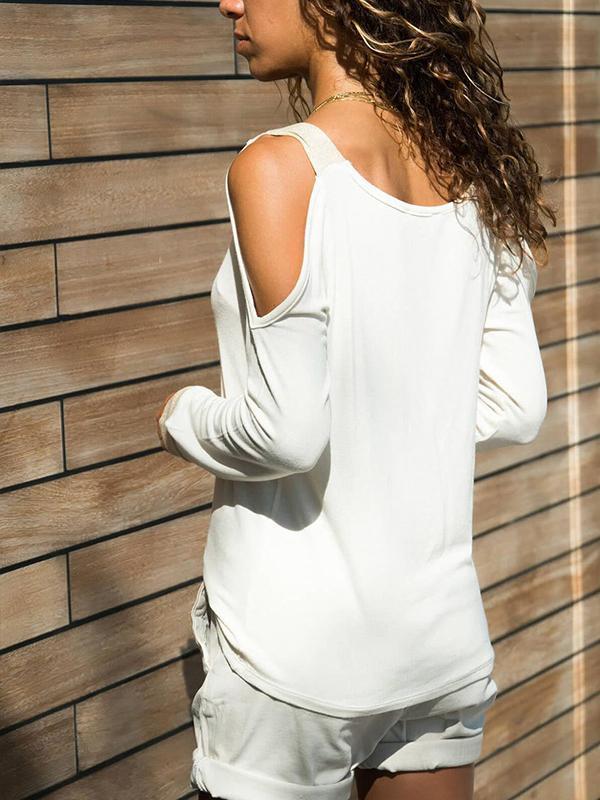 V neck Off Shoulder Woman White T-shirt