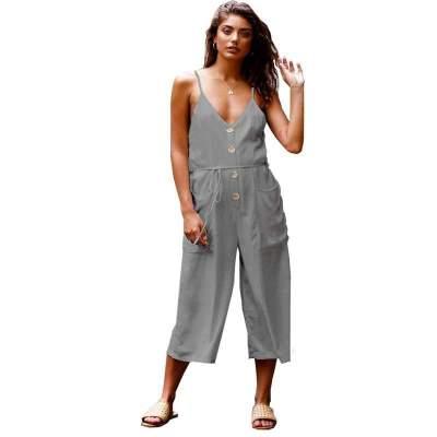 Casual Loose Pure V neck Vest Fastener Pocket Jumpsuits