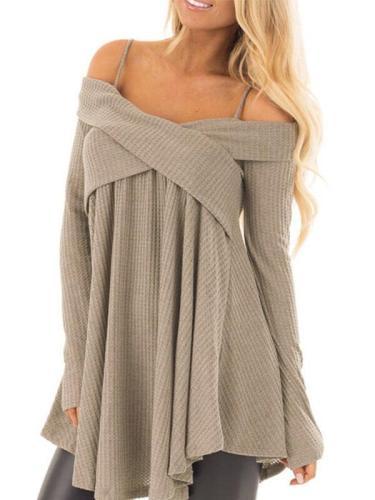 Woman Plain Daily Gallus Long Sleeve Knitting Sweaters
