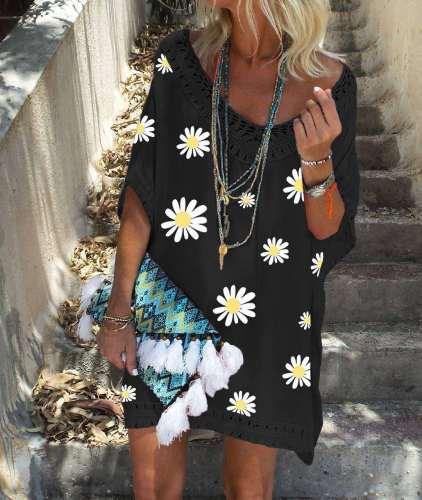 Casual Loose Print V neck Half sleeve Shift Dresses