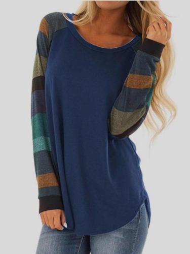 Fashion Gored Round neck Long sleeve T-Shirts