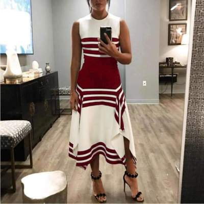 Fashion Round neck Sleeveless Stripe Big Hem Maxi Dresses