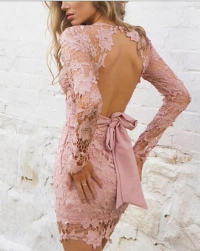 Sexy V neck Lace Skeleton Bodycon Dresses