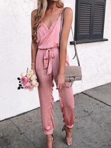 Plain fashion high waist strap long jumpsuits