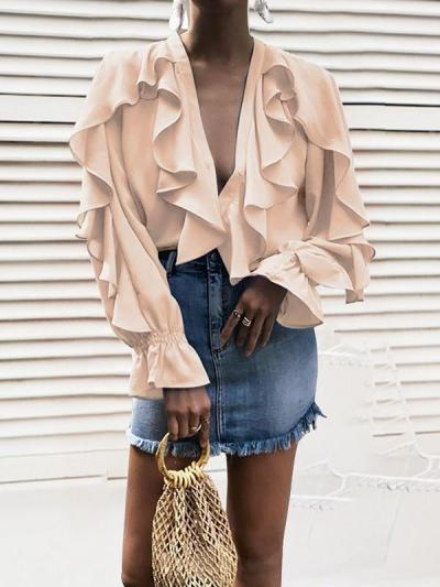 Chiffon V neck Stylish Womenlong sleeve blouses