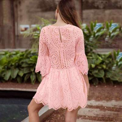 Fashiom Pure Hollow out Long sleeve Round neck Shift Dresses