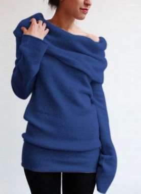 Fashion Pure Heaps collar Long sleeve Sweaters