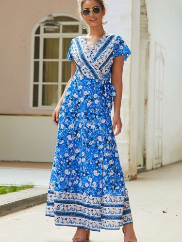 Fashion Sexy Print V neck Lacing Maxi Dresses