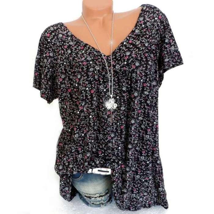 Floral V neck Short sleeve T-Shirts