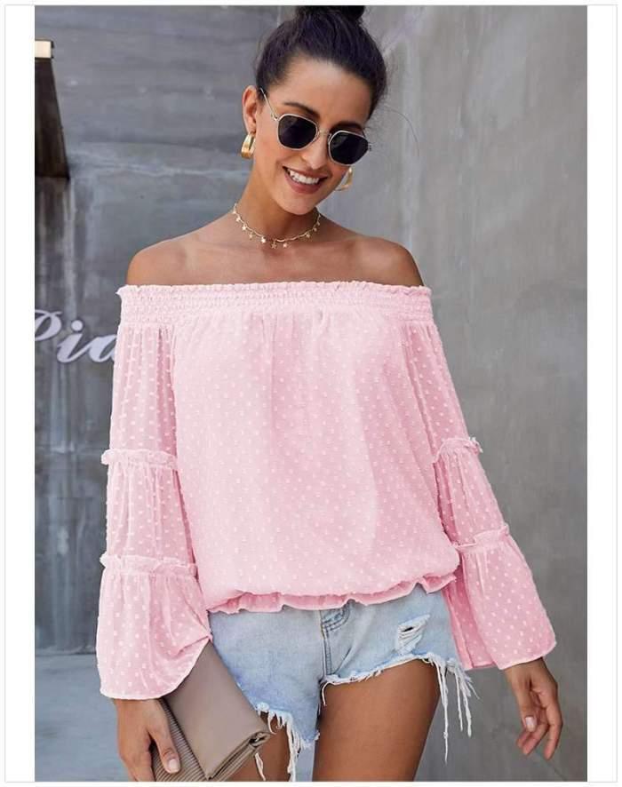 Fshion Loose Off shoulder Pure Mandarin sleeve T-Shirts
