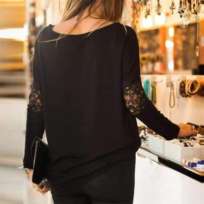Fashion Lace Gored Long sleeve T-Shirts