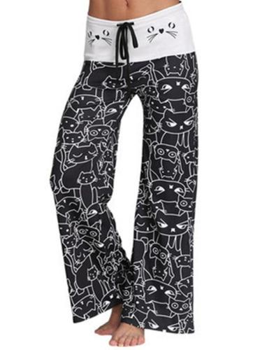 Cartoon Cart Print Woman Long Comfy Pants