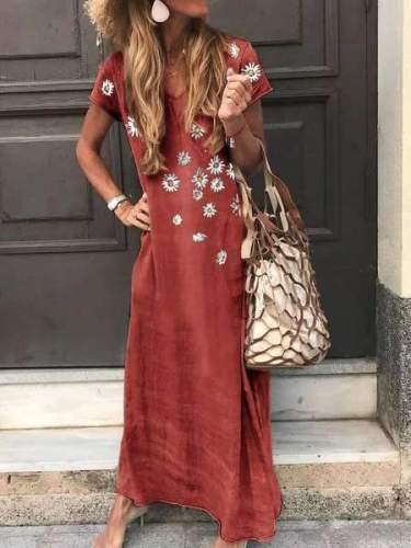 Fashion Print V neck Short sleeve Maxi Dresses