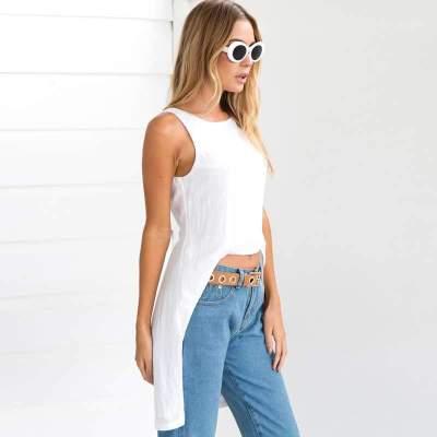 Fashion Pure Round neck Backless Irregular T-Shirts