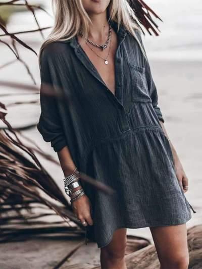 Fashion Casual Loose Pure Lapel Long sleeve Shift Dresses