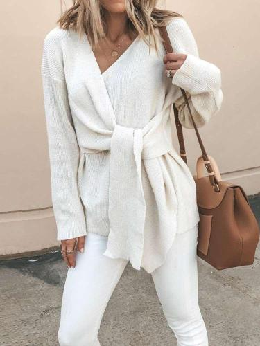 Fashion V neck Lacing Knit Long sleeve Cardigan