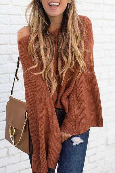 Fashion Casual Loose Pure Round neck Long sleeve Knit Sweaters