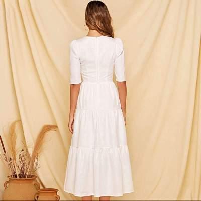 Fashion Gored Square collar Half sleeve Skater Dresses