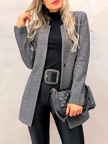Fashion Pure Stand collar Wool Coats