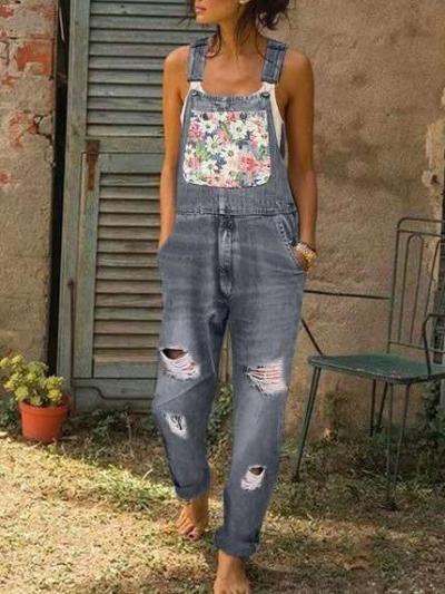 Fashion Print Jeans Jumpsuits