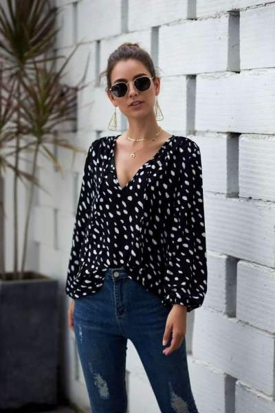 Fashion Point Print Puff sleeve T-Shirts
