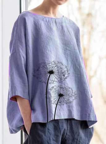 Casual Loose Print Half sleeve Round neck Blouses
