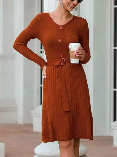 Women Sexy V-neck MIDI dress knit skater dresses sweater dresses