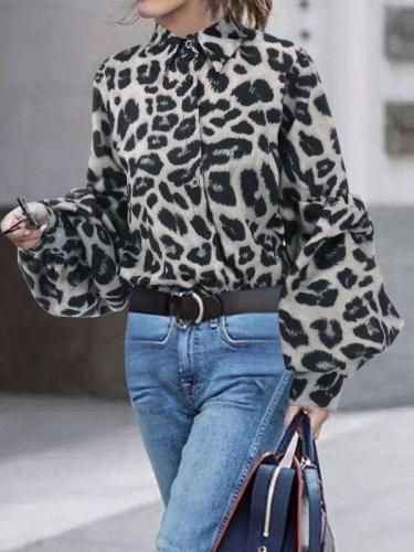 Loose Leopard print V neck Long sleeve Blouses