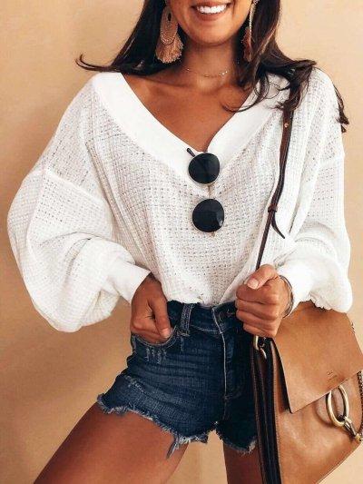 Fashion Long sleeve V neck Knit Sweaters