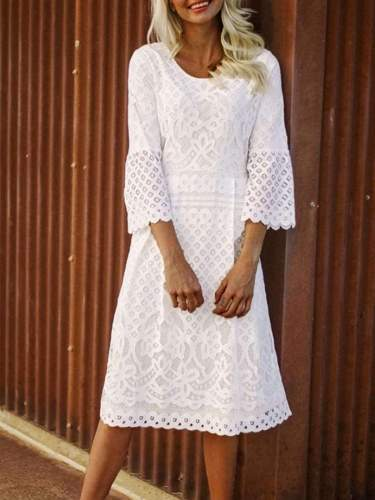 Fashion Round neck Long sleeve Lace Hollow out Maxi Dresses