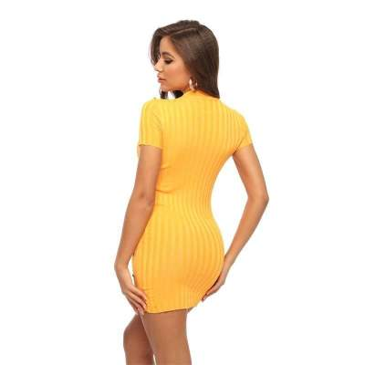 Pure Fastener Round neck Short Knit Bodycon Dresses