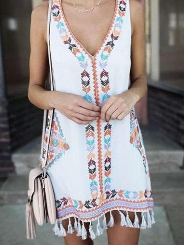 Loose Plus Print Purl Shift Dresses