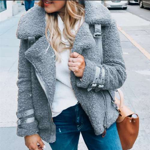 Fashion Vasual Plush Lapel Long sleeve Coats