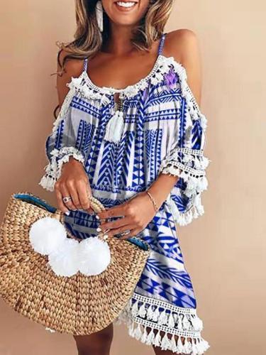Vintage Sling Off-shoulder Printed Color Mini Vacation Dresses