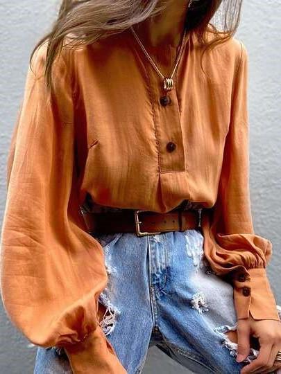 Fashion Pure V neck Long sleeve Blouses