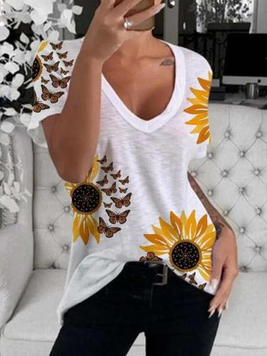 Fashion Print V neck Short sleeve T-Shirts