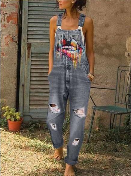 Fashion Vest Print Jeans Jumpsuits
