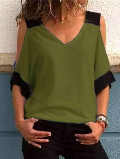 New Fashion Off shoulder V neck T-Shirts