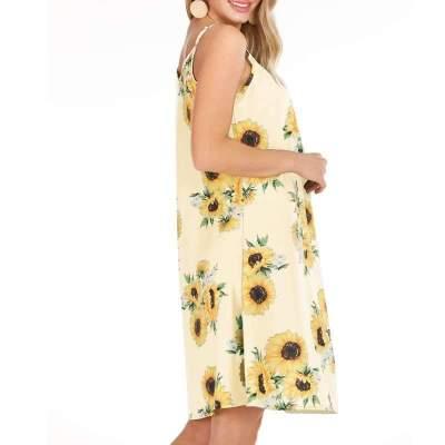 Fashion Print Vest Round neck Shift Dresses