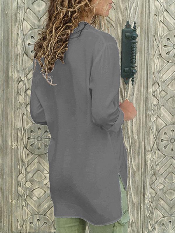 V-neck chiffon long sleeve Blouses