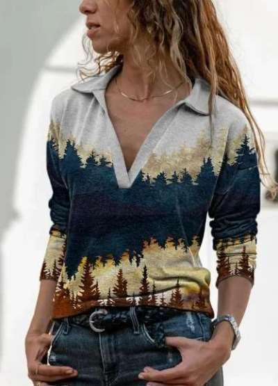 Fashion Casual Classics Print V neck Long sleeve T-Shirts