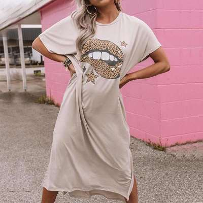 Casual Loose Print Round neck Short sleeve Maxi Dresses